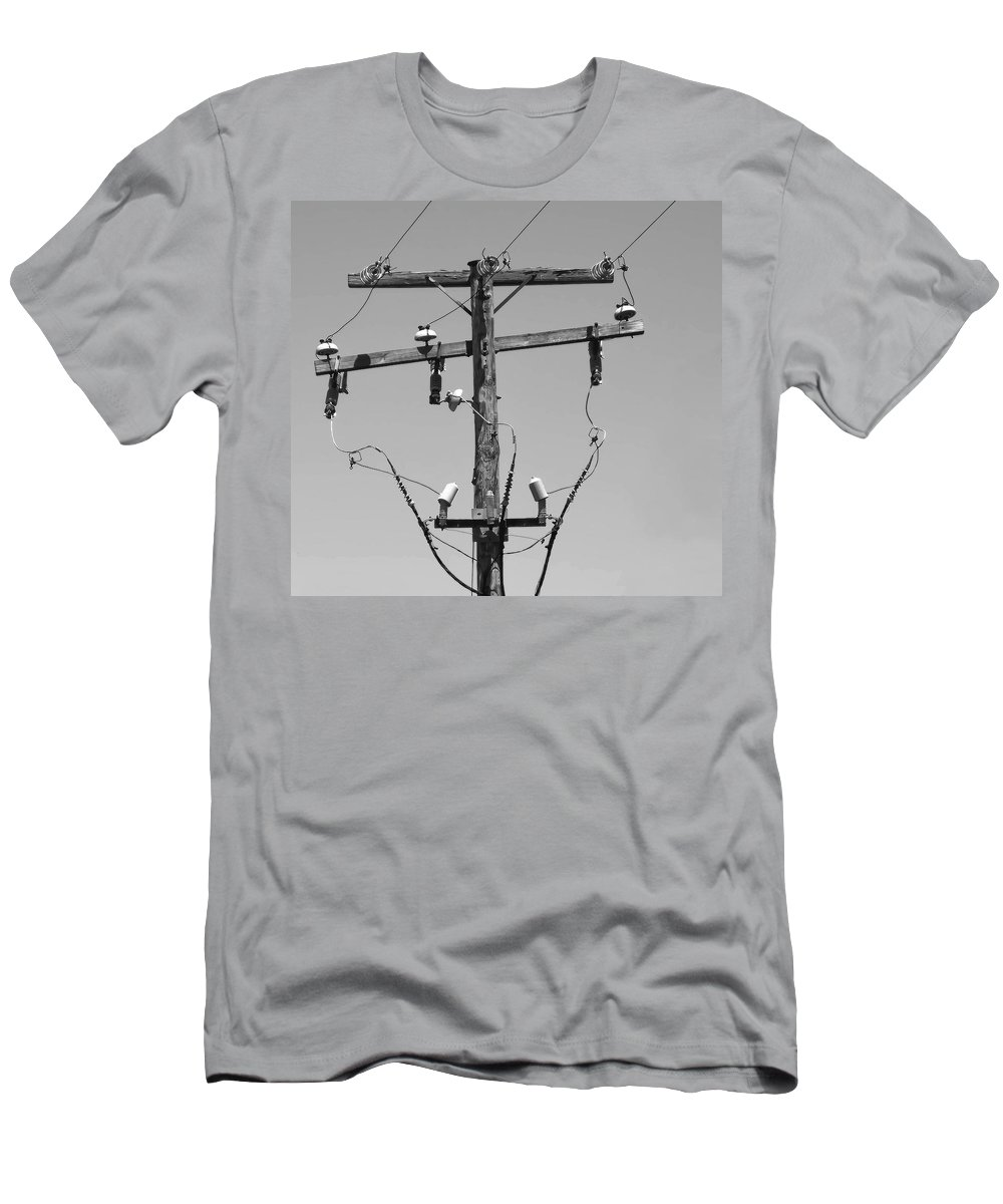 Telephone Pole Men's T-Shirt (Athletic Fit) featuring the photograph Old Telephone Pole by Dave Mills