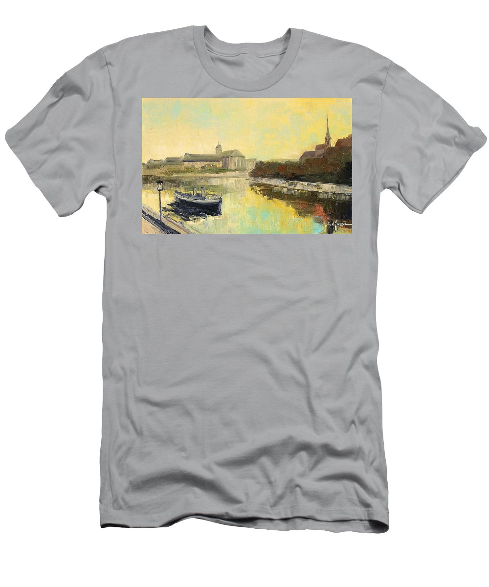 Wroclaw Men's T-Shirt (Athletic Fit) featuring the painting Old Wroclaw - Poland by Luke Karcz