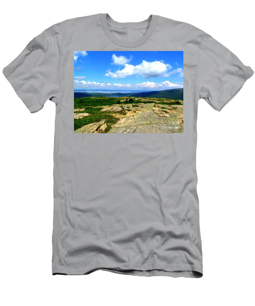 Sargent Mountain Men's T-Shirt (Athletic Fit) featuring the photograph On A Mountain In Maine by Elizabeth Dow