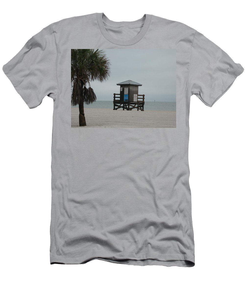 Beach Men's T-Shirt (Athletic Fit) featuring the photograph No Lifeguard On Duty by Christiane Schulze Art And Photography