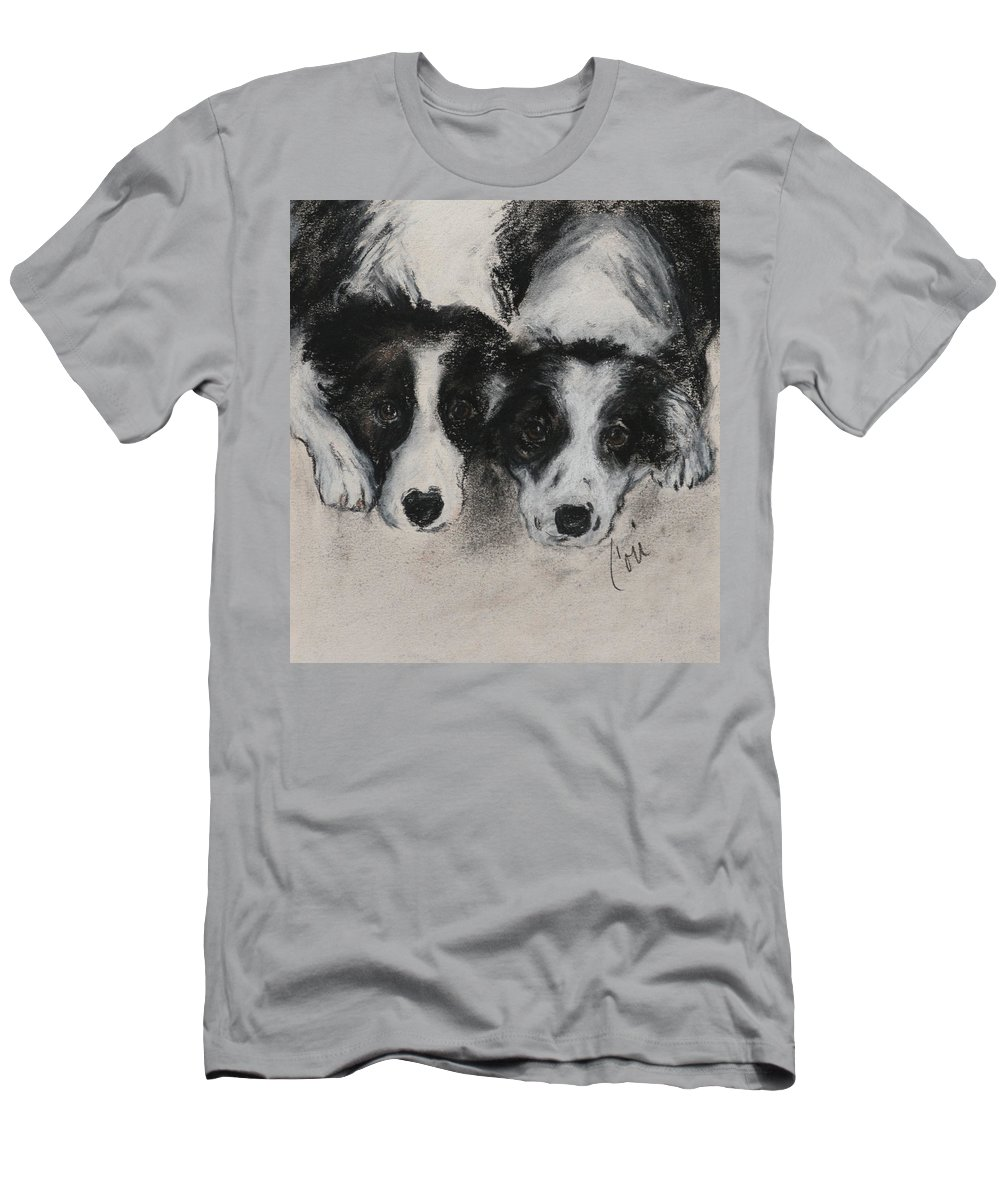 Border Collie Men's T-Shirt (Athletic Fit) featuring the drawing On The Border by Cori Solomon