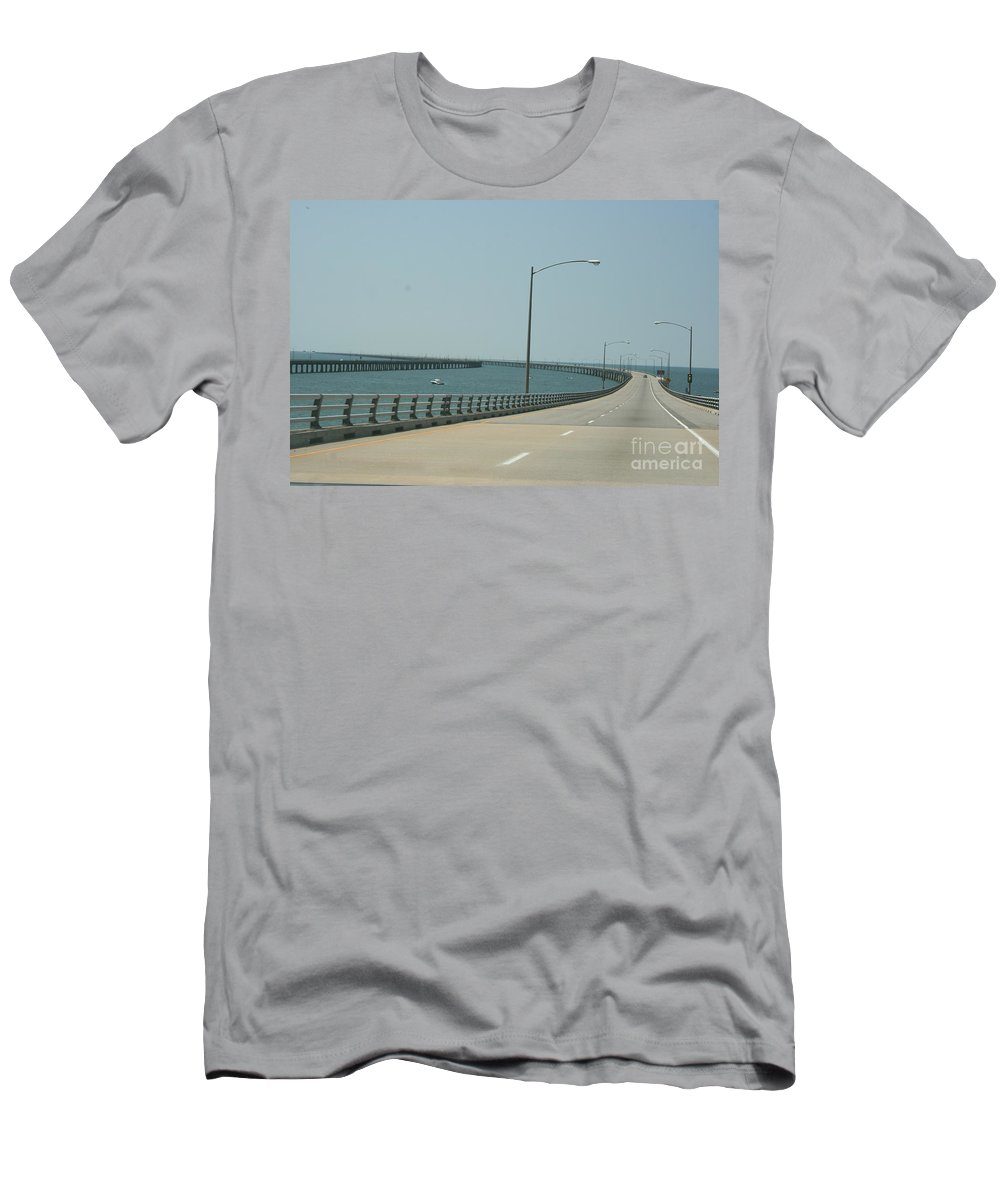 Bay Men's T-Shirt (Athletic Fit) featuring the photograph On The Chesapeake Bay Bridge by Christiane Schulze Art And Photography