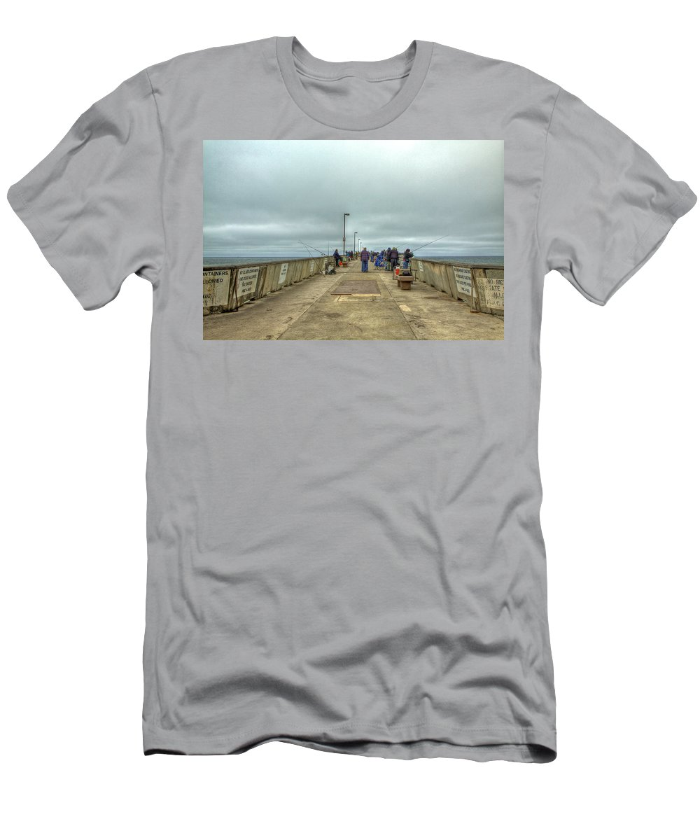 Beach Men's T-Shirt (Athletic Fit) featuring the photograph On The Pier At Pacifica by SC Heffner