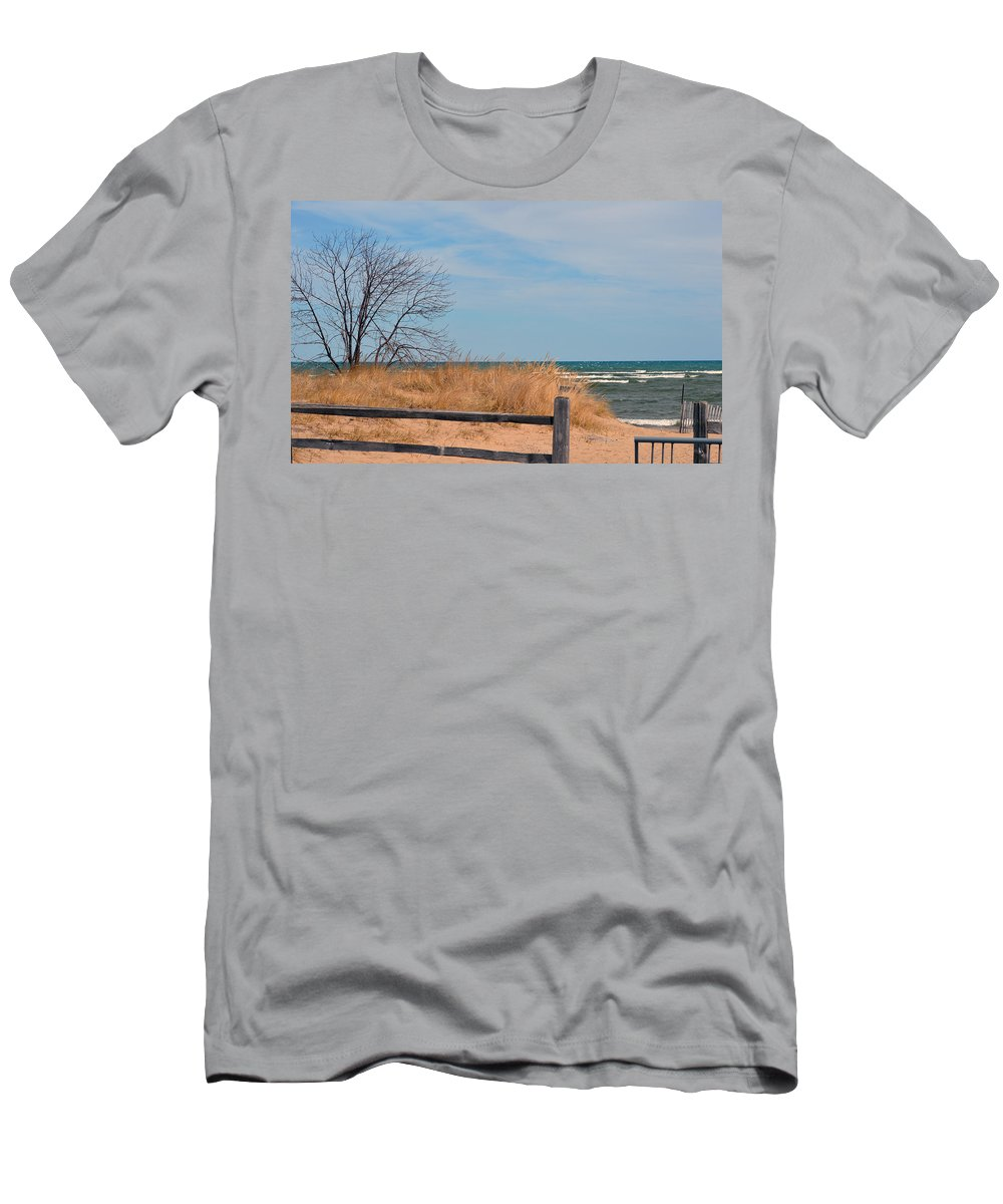 Lake Huron Men's T-Shirt (Athletic Fit) featuring the photograph On The Shore by Linda Kerkau