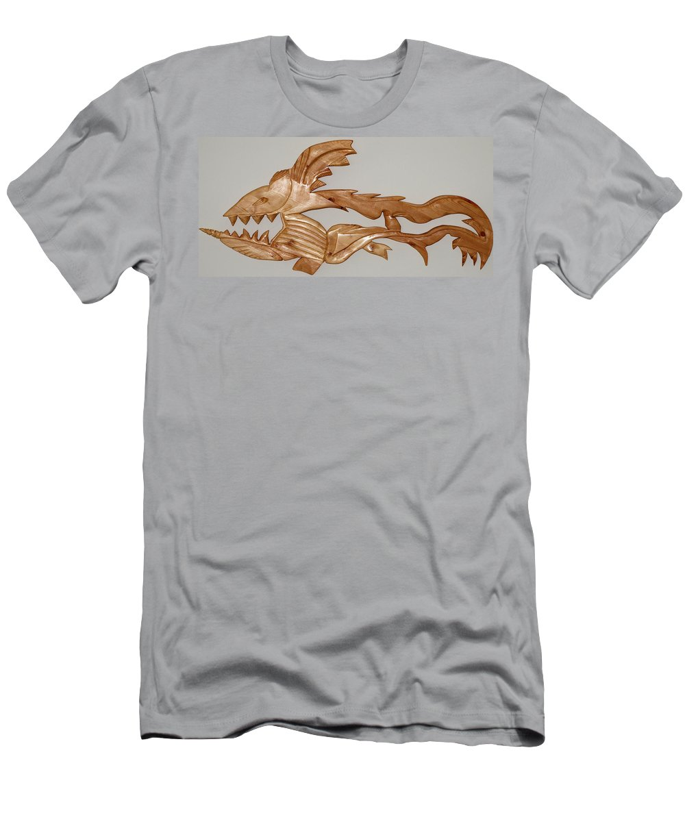 Extinct Fish Men's T-Shirt (Athletic Fit) featuring the sculpture One Hungry Fish by Robert Margetts