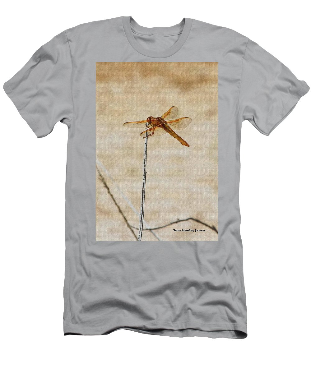 Orange Dragonfly Men's T-Shirt (Athletic Fit) featuring the photograph Orange Dragonfly by Tom Janca