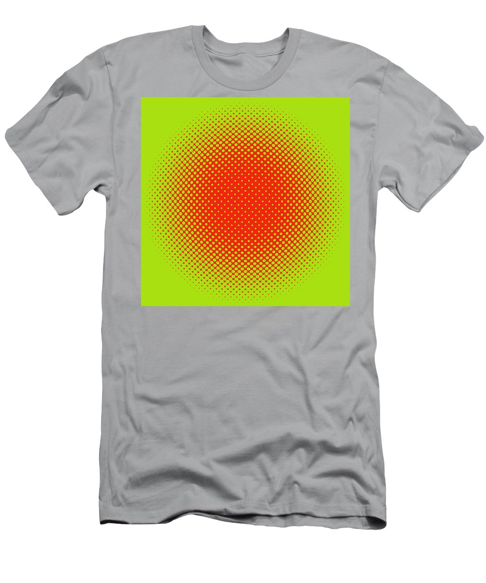 Popular Men's T-Shirt (Athletic Fit) featuring the digital art Optical Illusion - Orange On Lime by Paulette B Wright