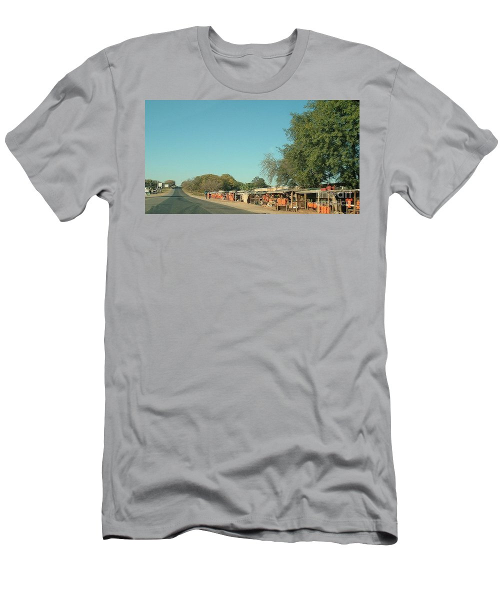 Orange Men's T-Shirt (Athletic Fit) featuring the photograph Orange Stalls by Lisa Byrne