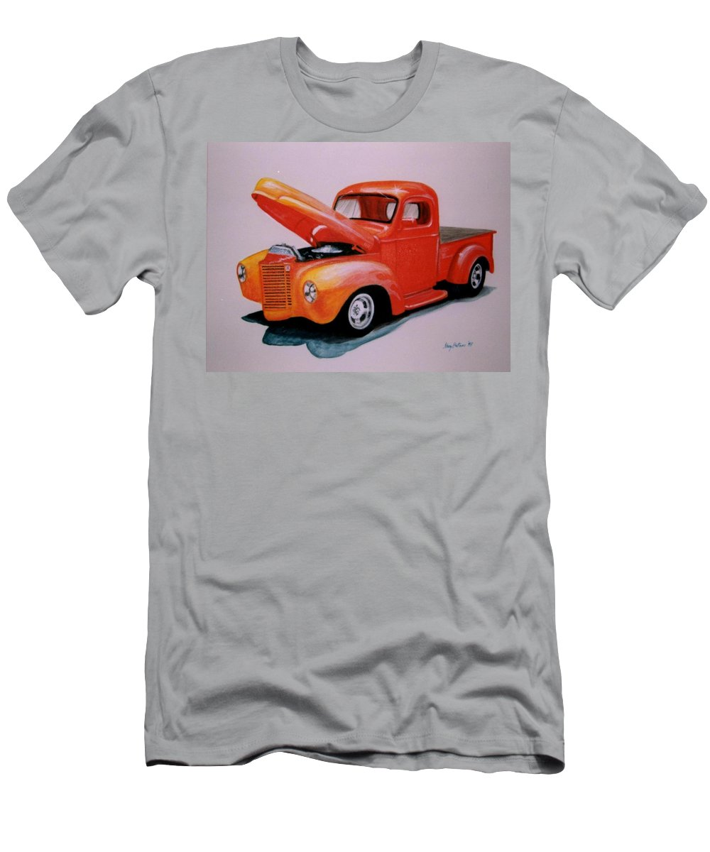 Truck Men's T-Shirt (Athletic Fit) featuring the painting Orange Truck by Stacy C Bottoms