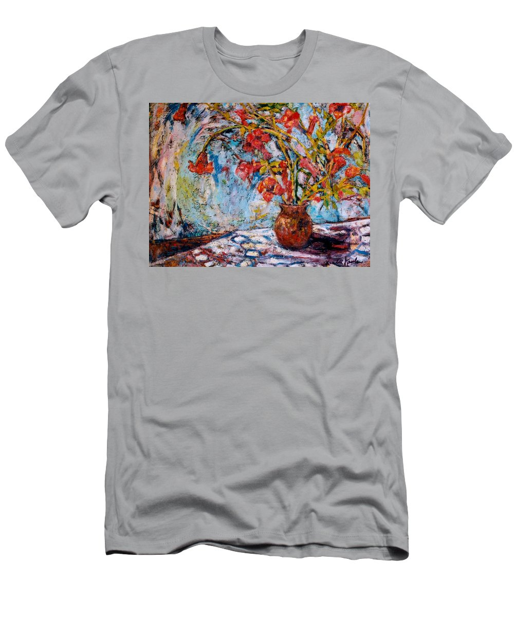 Trumpet Flowers Men's T-Shirt (Athletic Fit) featuring the painting Orange Trumpet Flowers by Kendall Kessler