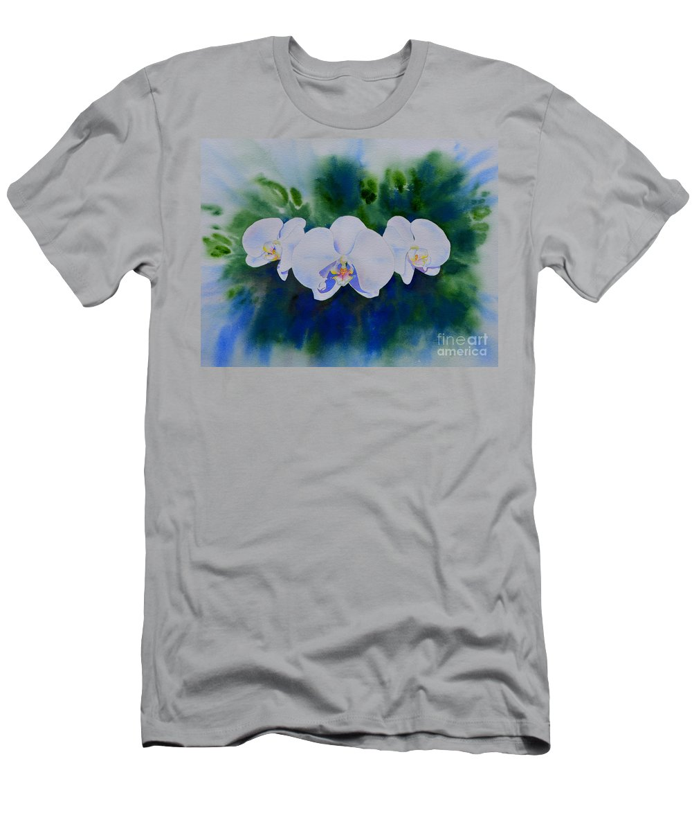 White Orchids Men's T-Shirt (Athletic Fit) featuring the painting Orchid Blast by H Cooper