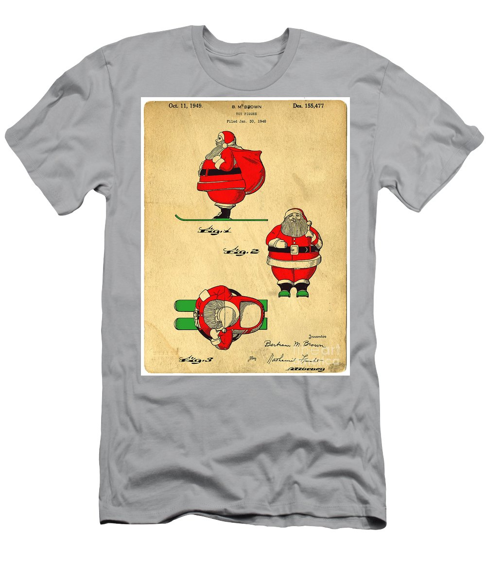 Santa Men's T-Shirt (Athletic Fit) featuring the digital art Original Patent For Santa On Skis Figure by Edward Fielding