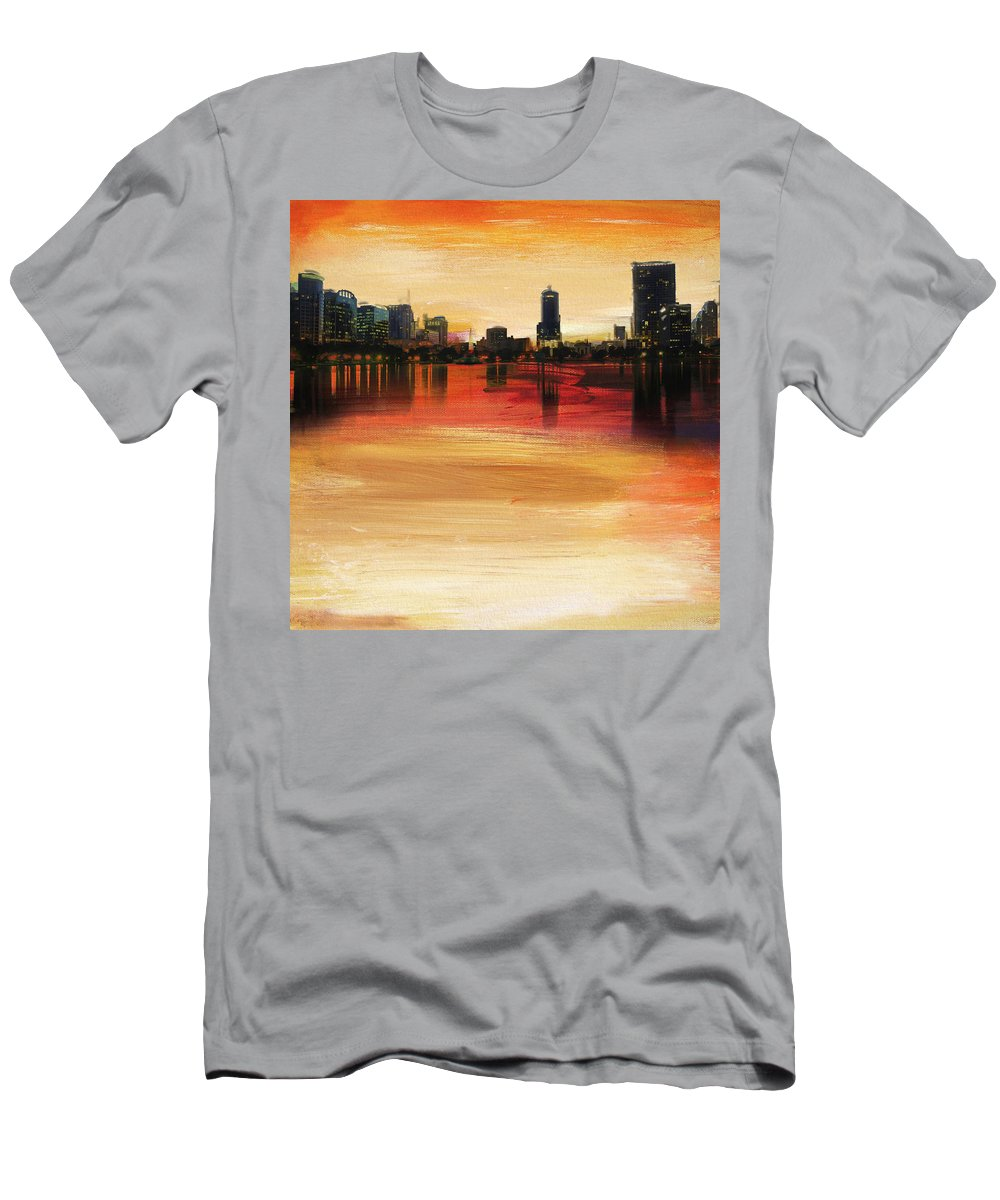 Orlando Men's T-Shirt (Athletic Fit) featuring the painting Orlando City Skyline by Corporate Art Task Force