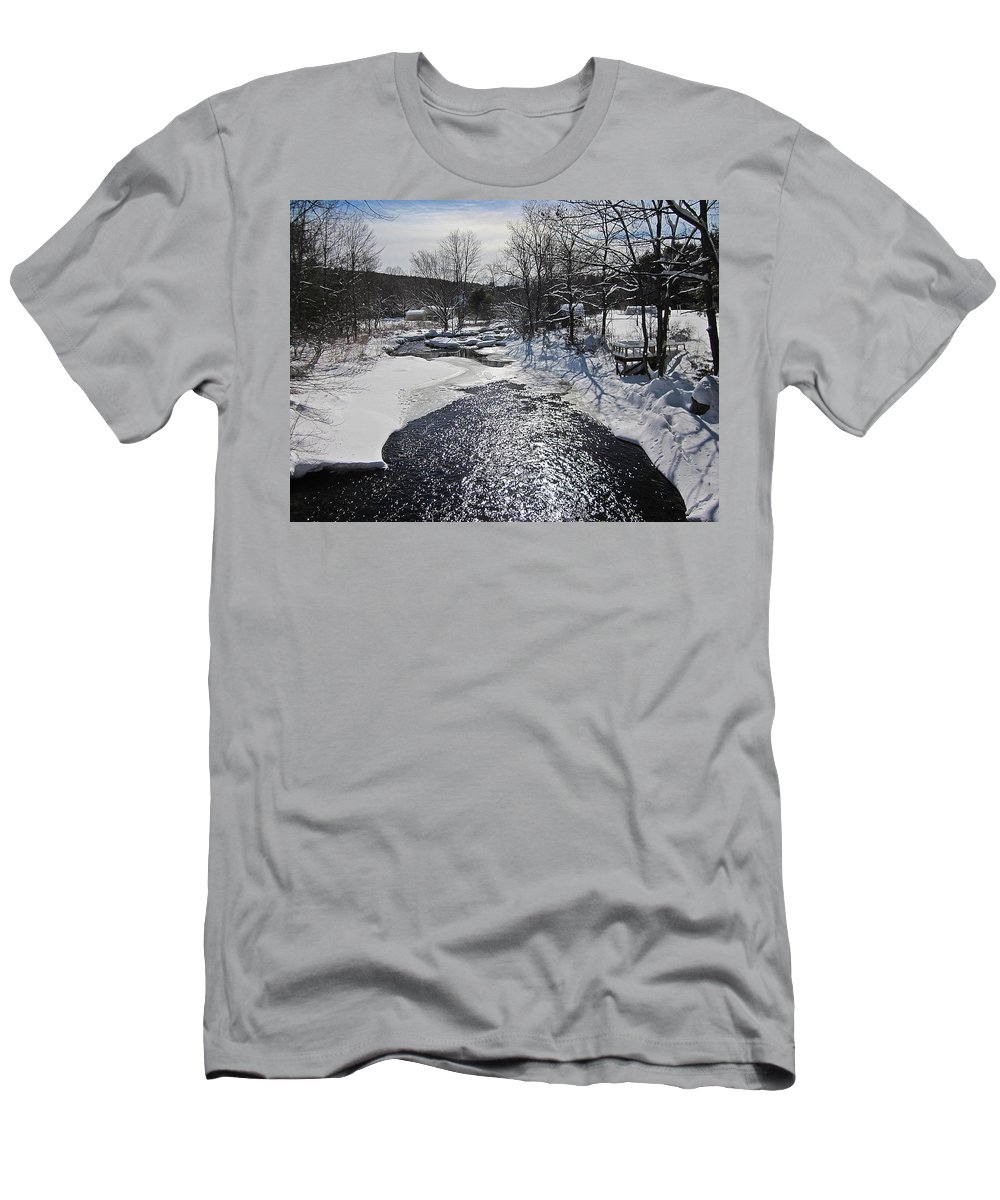 Snow Men's T-Shirt (Athletic Fit) featuring the photograph Otter Brook Scene by MTBobbins Photography