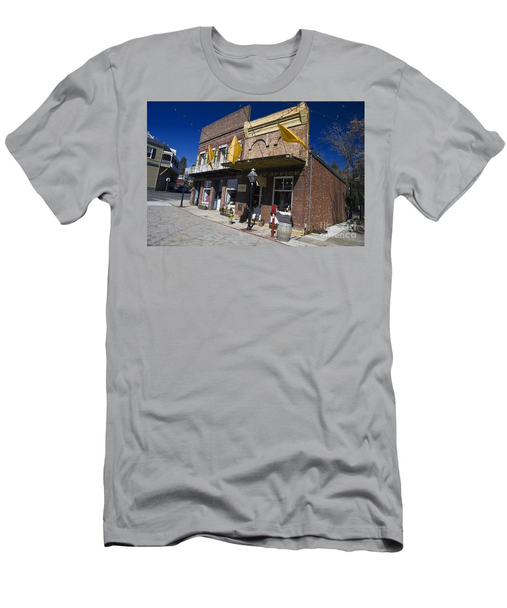 Travel Men's T-Shirt (Athletic Fit) featuring the photograph Otts Assay Office And The South Yuba Canal Building Nevada City California by Jason O Watson