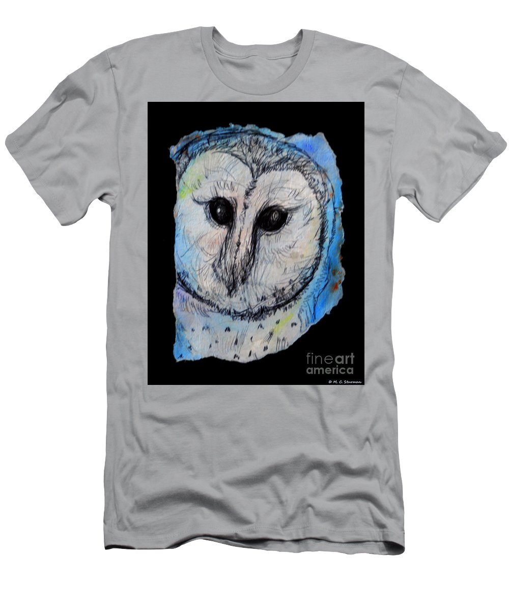 Owl Men's T-Shirt (Athletic Fit) featuring the painting Out Of The Dark by M c Sturman