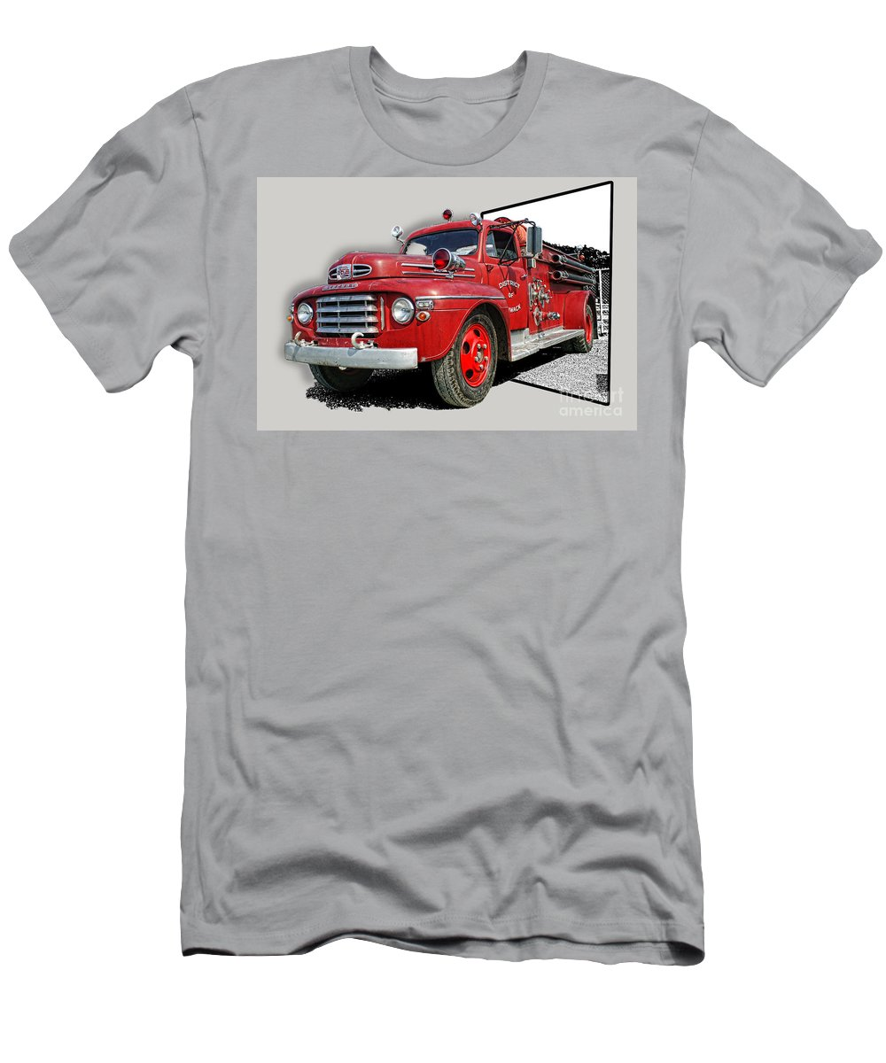 Fire Trucks Men's T-Shirt (Athletic Fit) featuring the photograph Out Of The Photo Fire Truck by Randy Harris