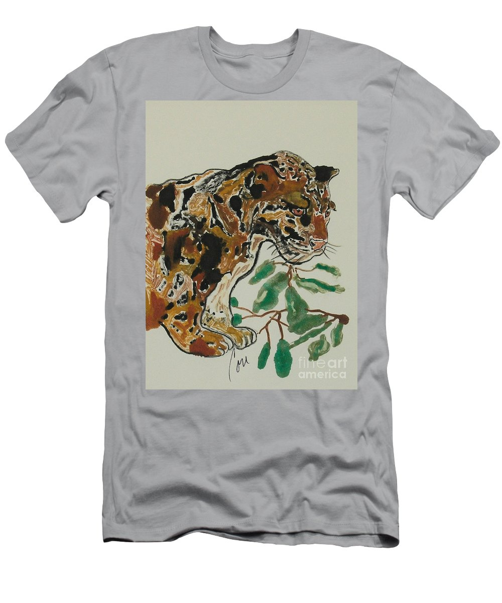 Jaguar Men's T-Shirt (Athletic Fit) featuring the mixed media Out On A Limb by Cori Solomon