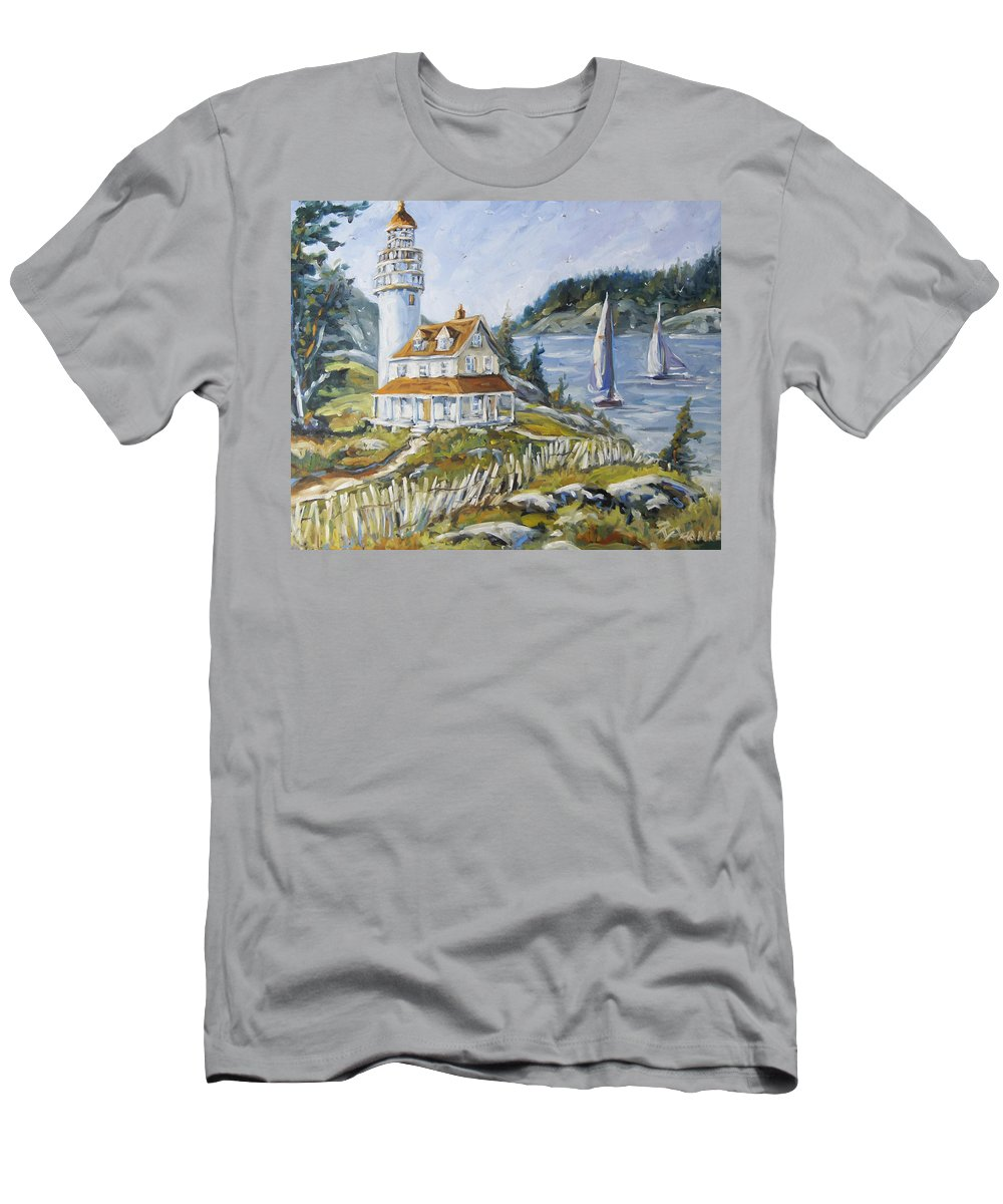 Fleuve St-laurent Men's T-Shirt (Athletic Fit) featuring the painting Out To Sea By Prankearts by Richard T Pranke