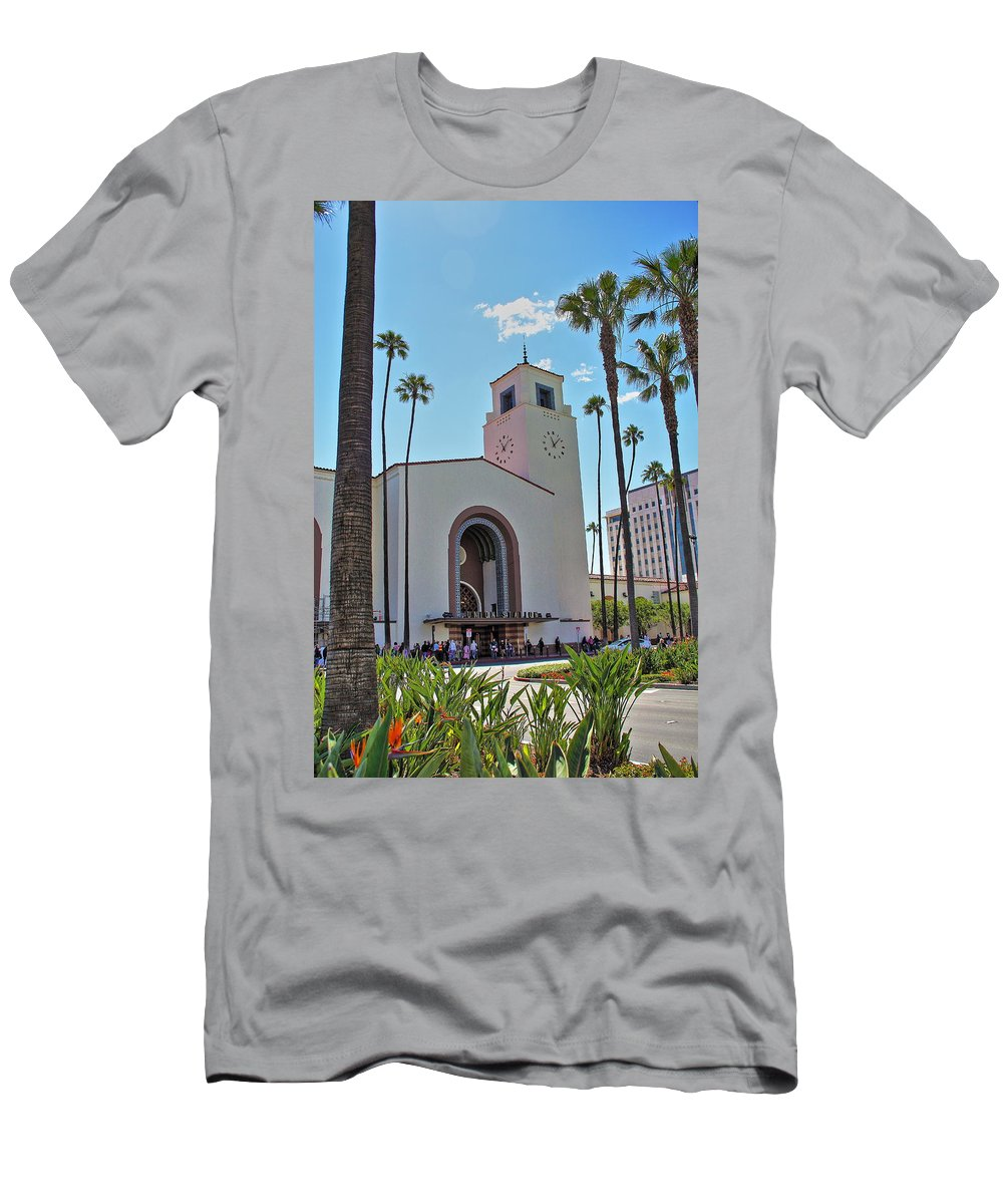 Los Angeles Union Station Men's T-Shirt (Athletic Fit) featuring the photograph Outside Los Angeles Union Station by Richard Cheski