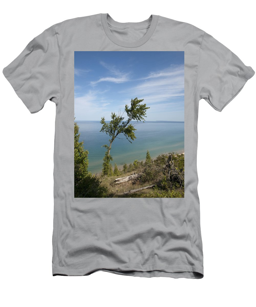 Beach Sand Nature Tree Grasses Water Sky Lake Michigan Michigan Shore Line Empire Empire Men's T-Shirt (Athletic Fit) featuring the photograph Over Lake Michigan by Tara Lynn