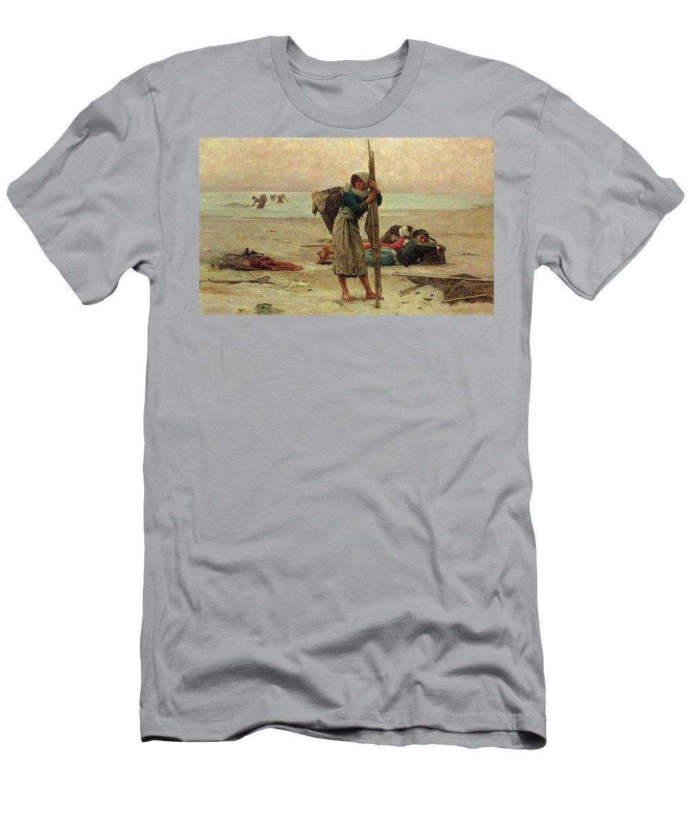 Beach Men's T-Shirt (Athletic Fit) featuring the painting Oyster Catching by Pierre Celestin Billet