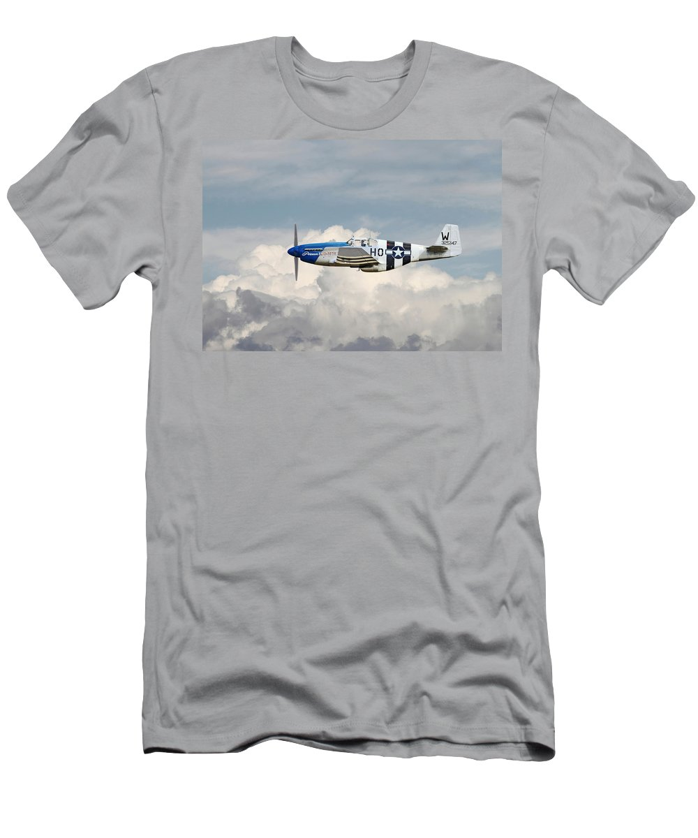 Aircraft Men's T-Shirt (Athletic Fit) featuring the photograph P51 Mustang Gallery - No2 by Pat Speirs