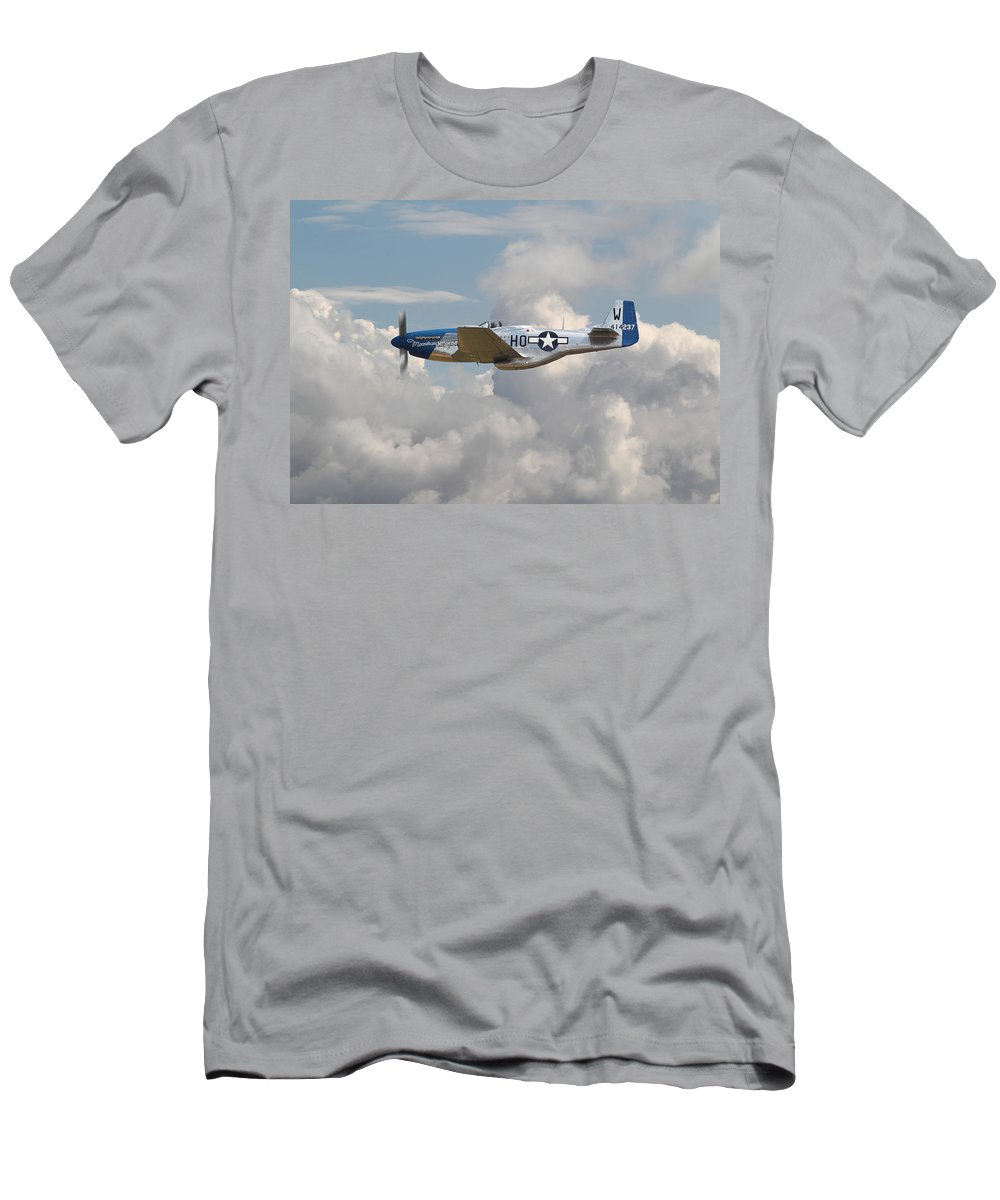 Aircraft Men's T-Shirt (Athletic Fit) featuring the photograph P51 Mustang Gallery - No3 by Pat Speirs