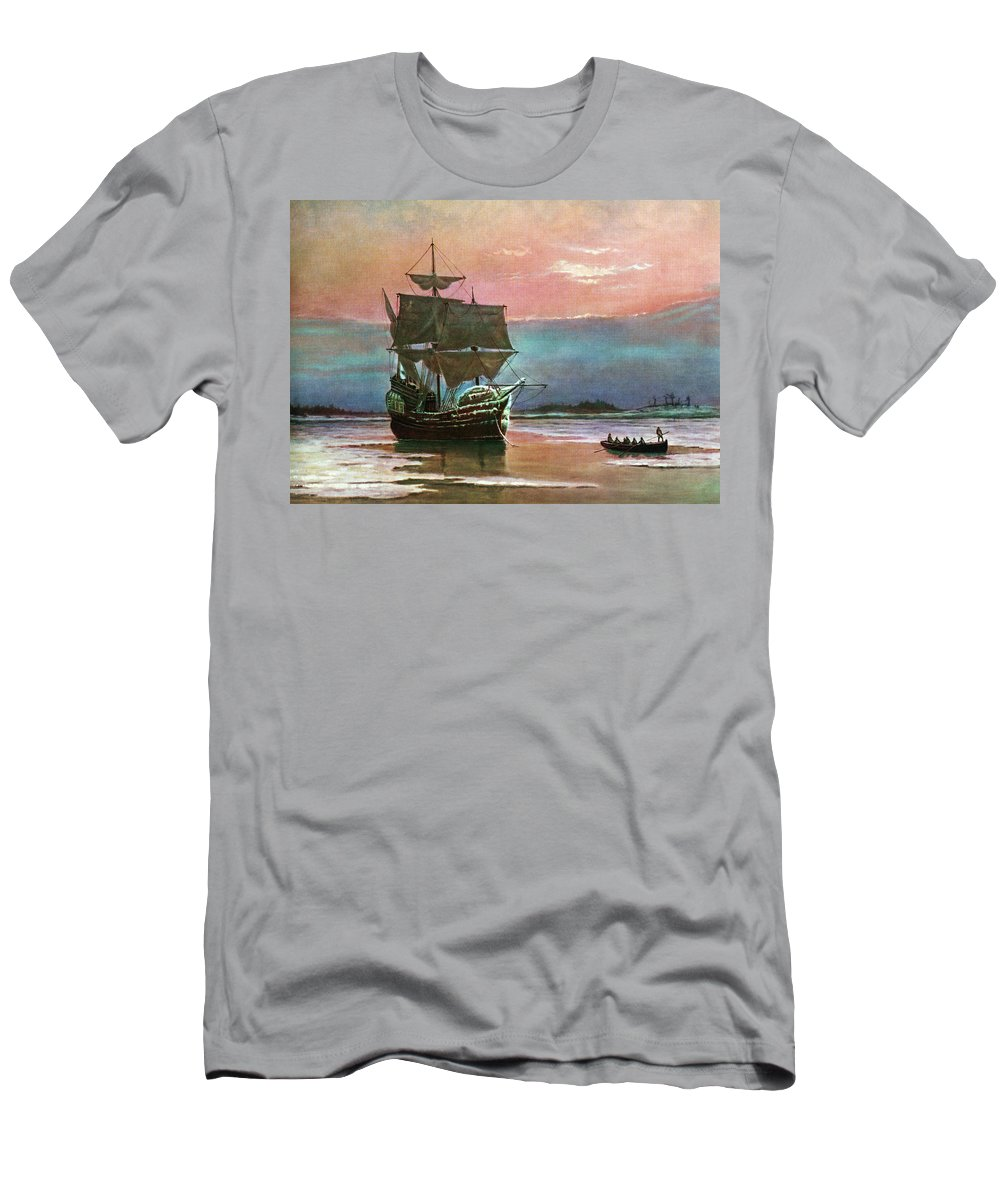 Horizontal Men's T-Shirt (Athletic Fit) featuring the painting Painting Of The Ship The Mayflower 1620 by Vintage Images