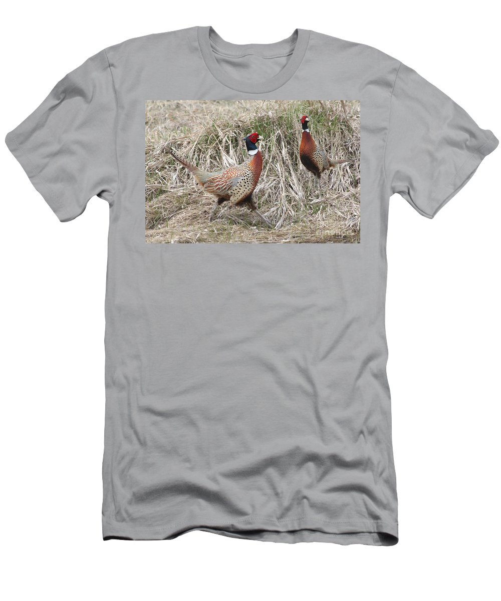 Rooster Men's T-Shirt (Athletic Fit) featuring the photograph Pair Of Roosters by Lori Tordsen