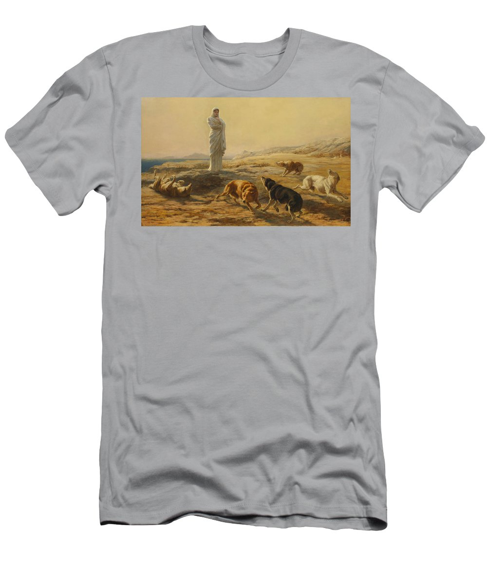 Briton Riviere Men's T-Shirt (Athletic Fit) featuring the painting Pallas Athena And The Herdsmans Dogs by Briton Riviere