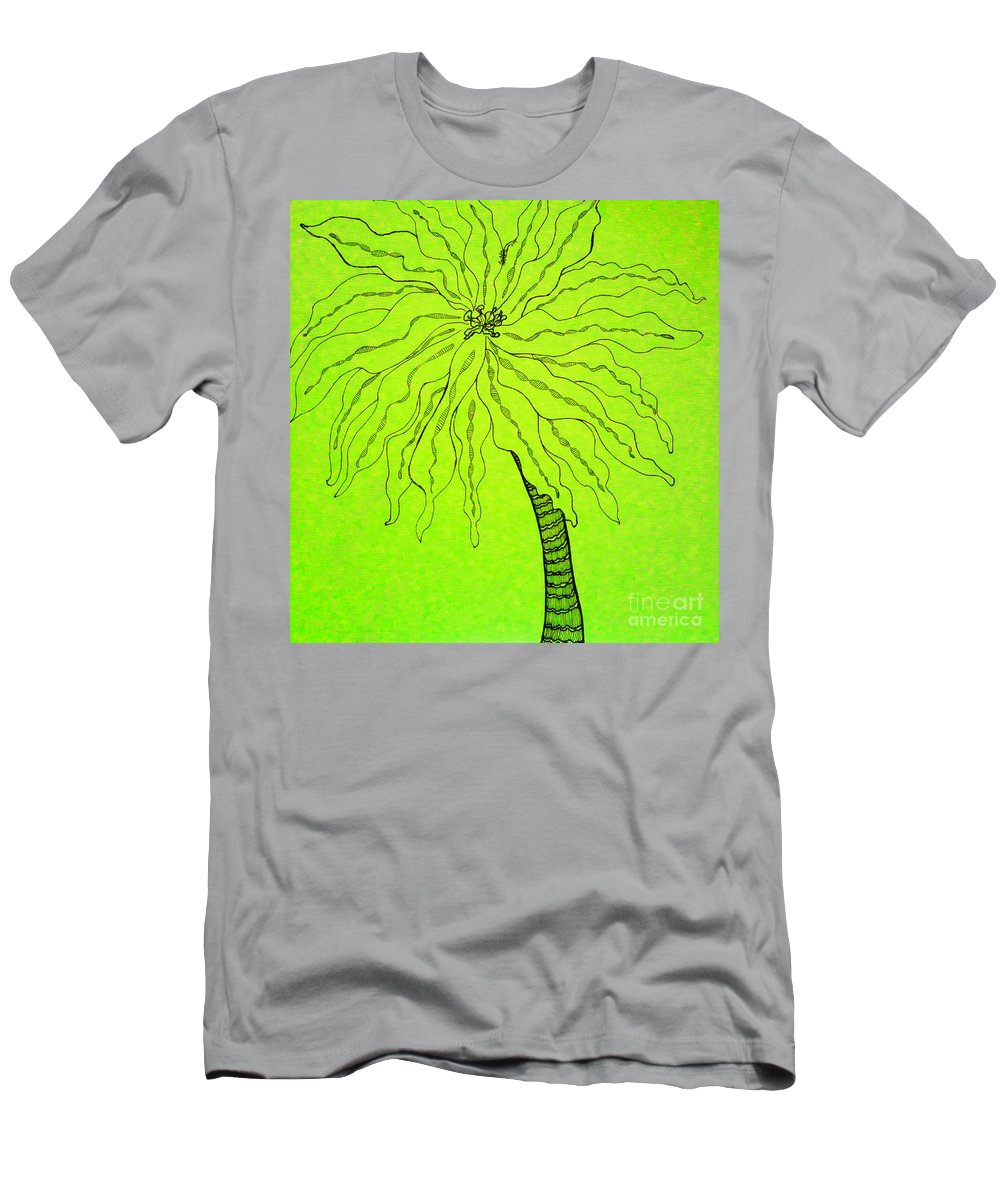 Palm Green Men's T-Shirt (Athletic Fit) featuring the drawing Palm Green by Anita Lewis