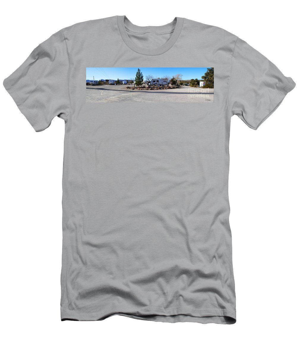 Roena King Men's T-Shirt (Athletic Fit) featuring the photograph Panorama Cedar Cove Rv Park Street 2 by Roena King