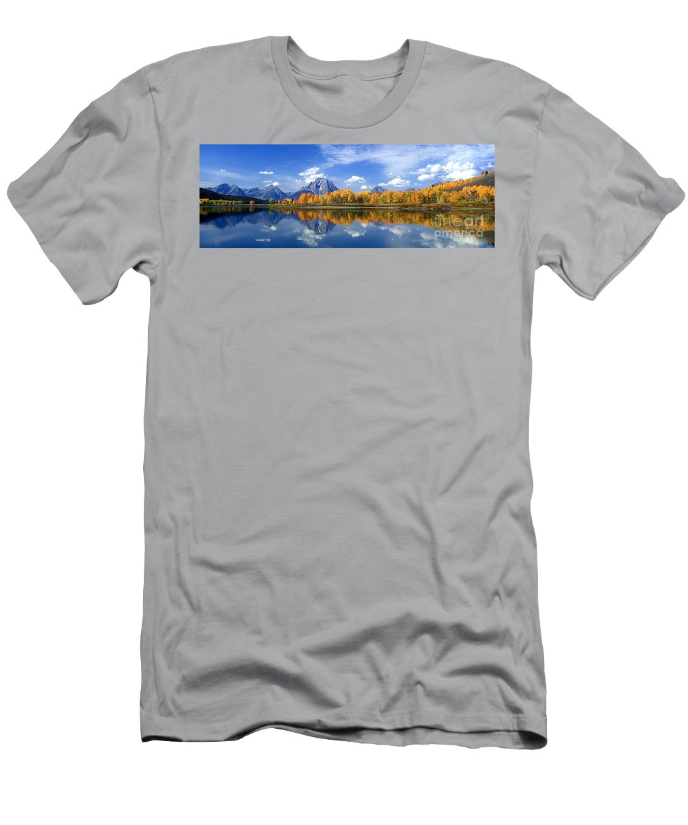 America Men's T-Shirt (Athletic Fit) featuring the photograph Panorama Fall Morning At Oxbow Bend Grand Tetons National Park by Dave Welling
