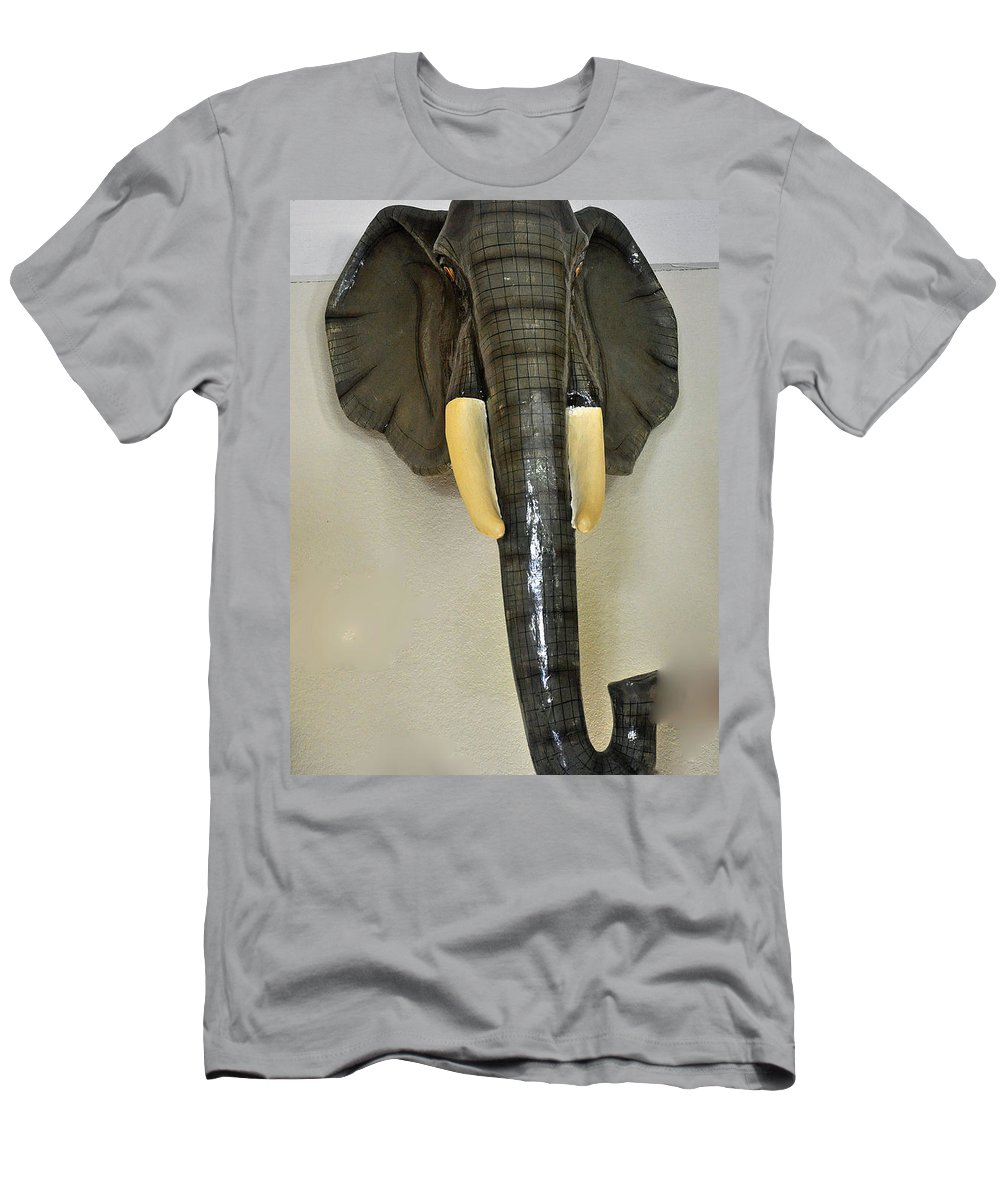 Animal Men's T-Shirt (Athletic Fit) featuring the photograph Paper Mache Elephant By Sergio Bustamante by Jay Milo