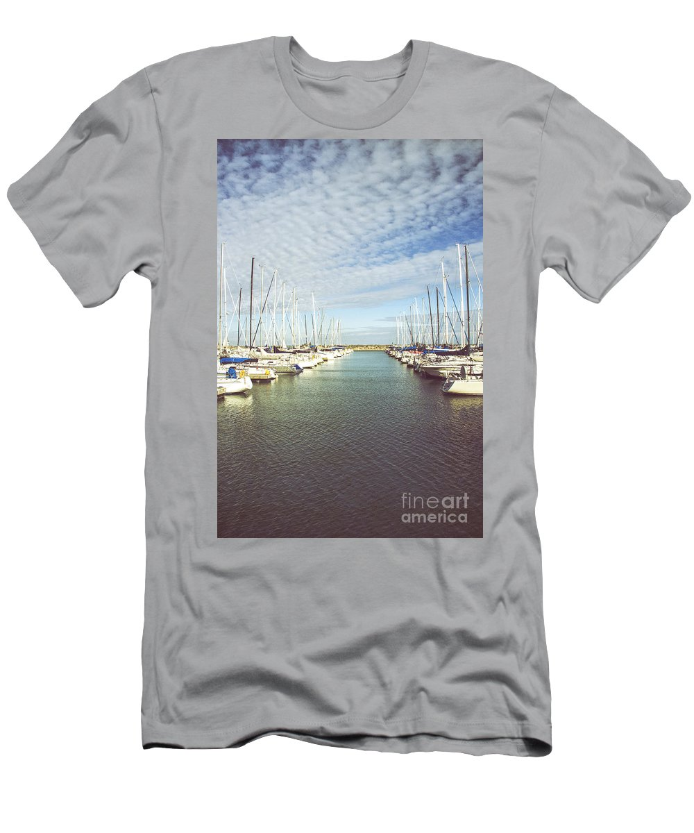 Boats; Yacht; Water; Horizon; Harbor; Many; Clutter; Cluttered; Relax; Relaxation; Pier; Shore; Lake; Sea; Ocean; Sunrise; Sunset; Sky; Clouds; Pretty; Lovely; Sail; Sailboat Men's T-Shirt (Athletic Fit) featuring the photograph Parted by Margie Hurwich