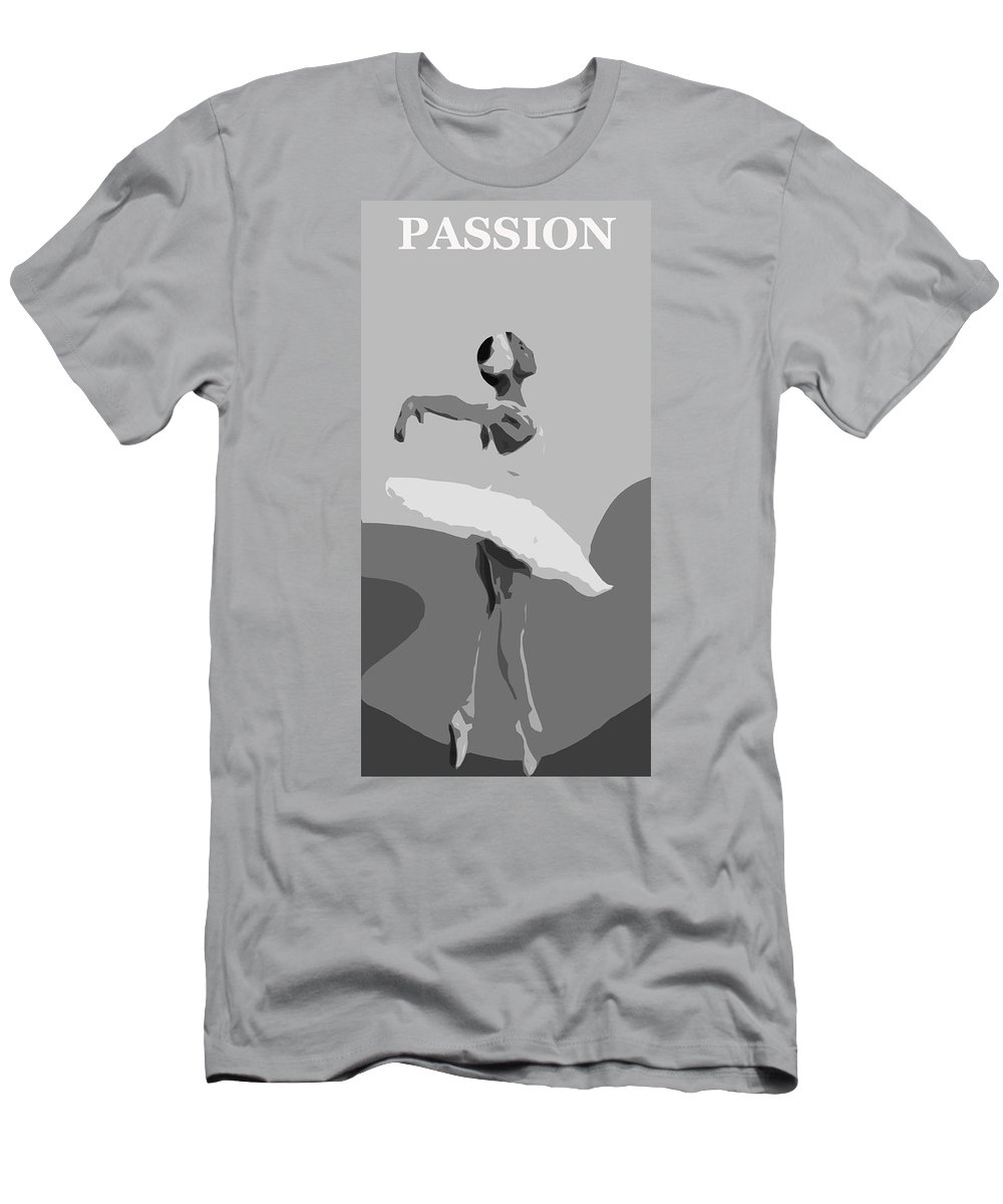 Passion Dance Dancer Dancing Ballet Ballerina Female Girl Woman Erotic Black White Expressionism Men's T-Shirt (Athletic Fit) featuring the painting Passion Of Dance by Steve K
