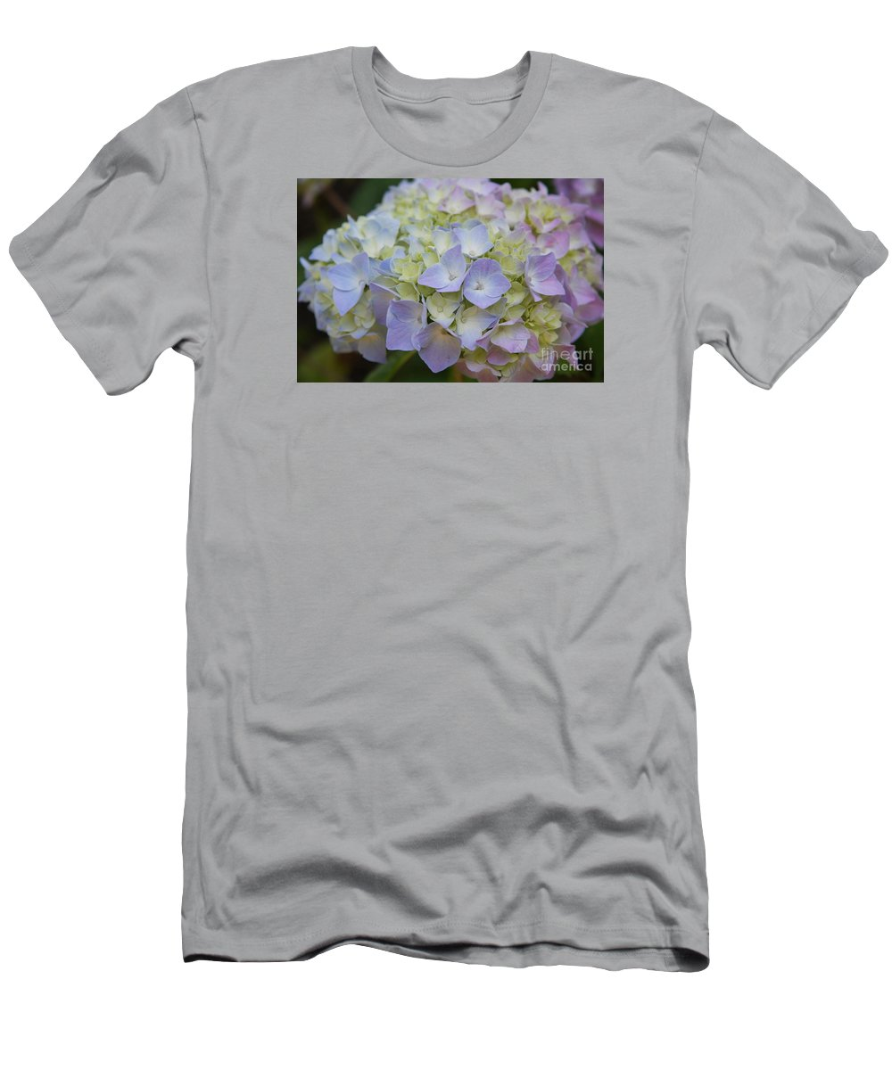 Hydrangea Men's T-Shirt (Athletic Fit) featuring the photograph Pastel Blue Hydrangea by Christiane Schulze Art And Photography