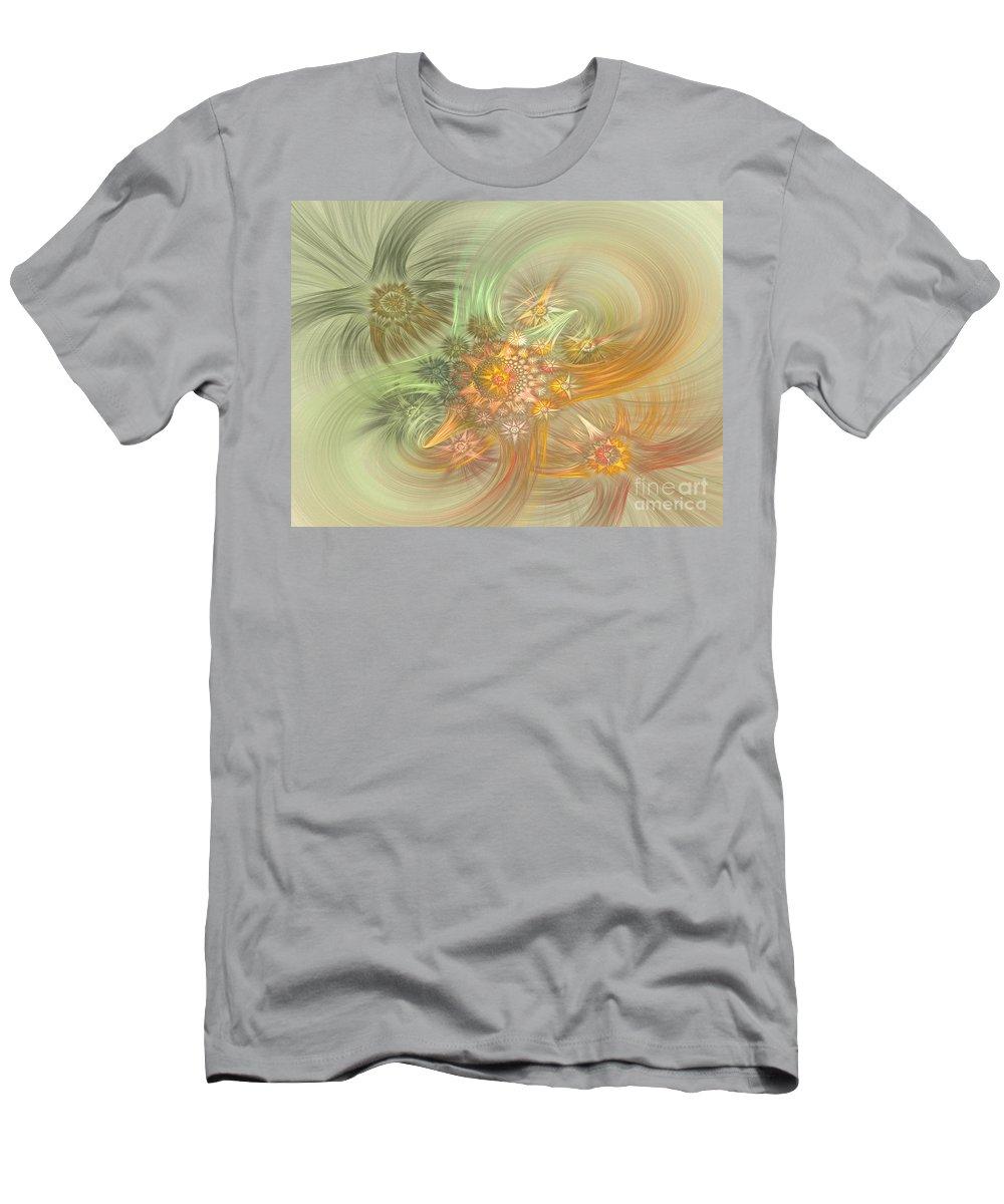Fractal Men's T-Shirt (Athletic Fit) featuring the digital art Pastel Delicate Pattern by Deborah Benoit