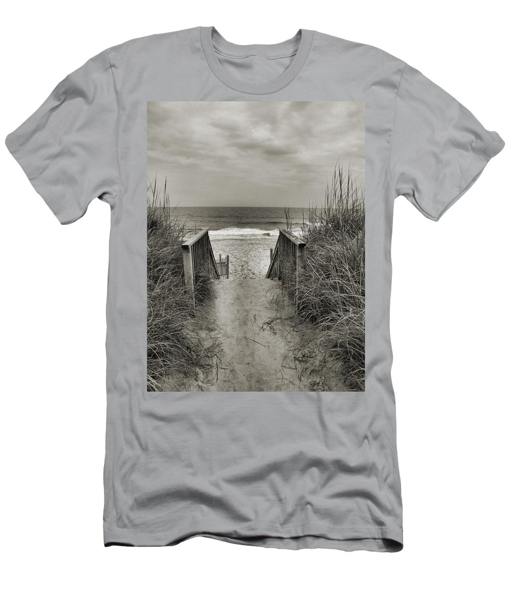 Beach Rails Sand Clouds Men's T-Shirt (Athletic Fit) featuring the photograph Path by John Holfinger