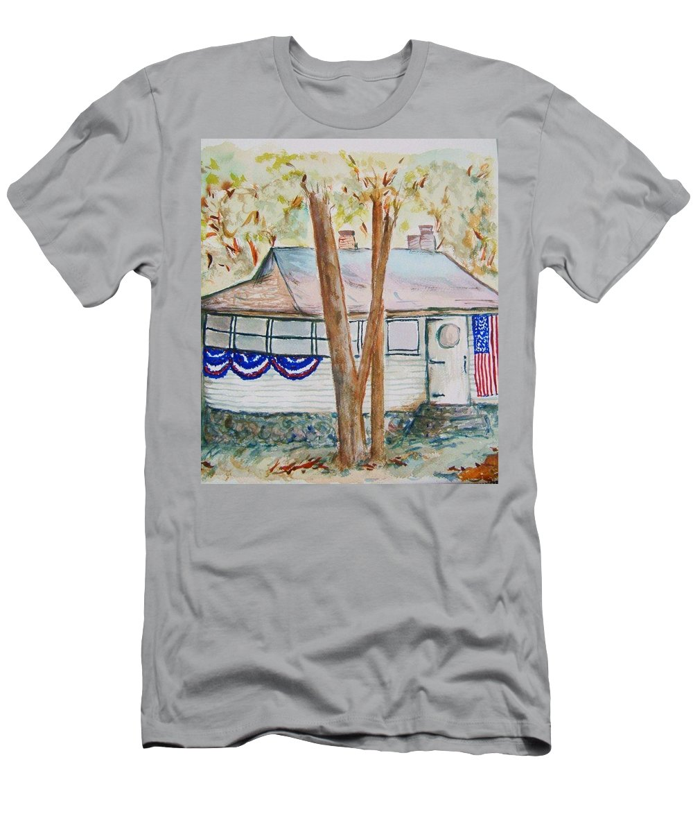Lake Cottage Men's T-Shirt (Athletic Fit) featuring the painting Patriotic Cottage by Elaine Duras