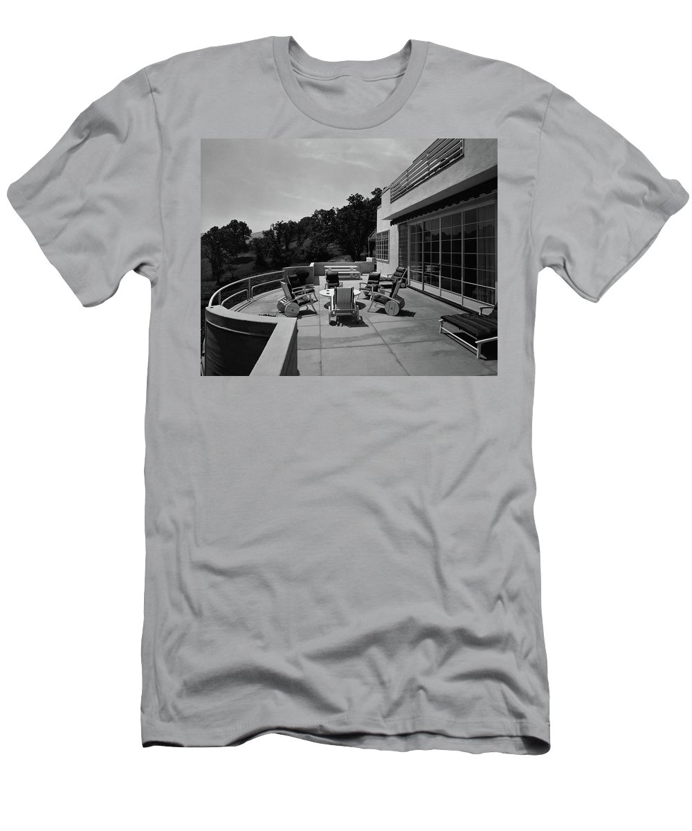 Exterior Men's T-Shirt (Athletic Fit) featuring the photograph Paved Terrace At The Residence Of Mr. And Mrs by Clyde H. Sunderland