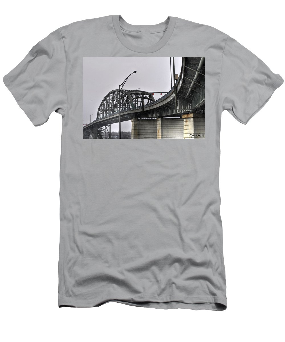 Peace Bridge Men's T-Shirt (Athletic Fit) featuring the photograph Peace Bridge 00a by Michael Frank Jr