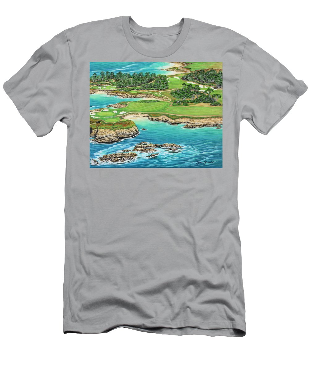 Ocean Men's T-Shirt (Athletic Fit) featuring the painting Pebble Beach 15th Hole-south by Jane Girardot
