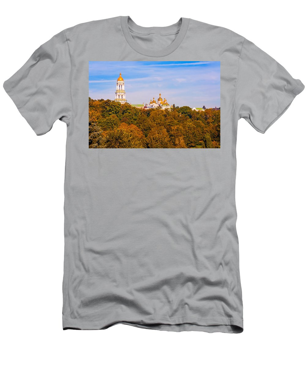 Kiev Men's T-Shirt (Athletic Fit) featuring the photograph Pechersk Lavra Tower Bell by Alain De Maximy