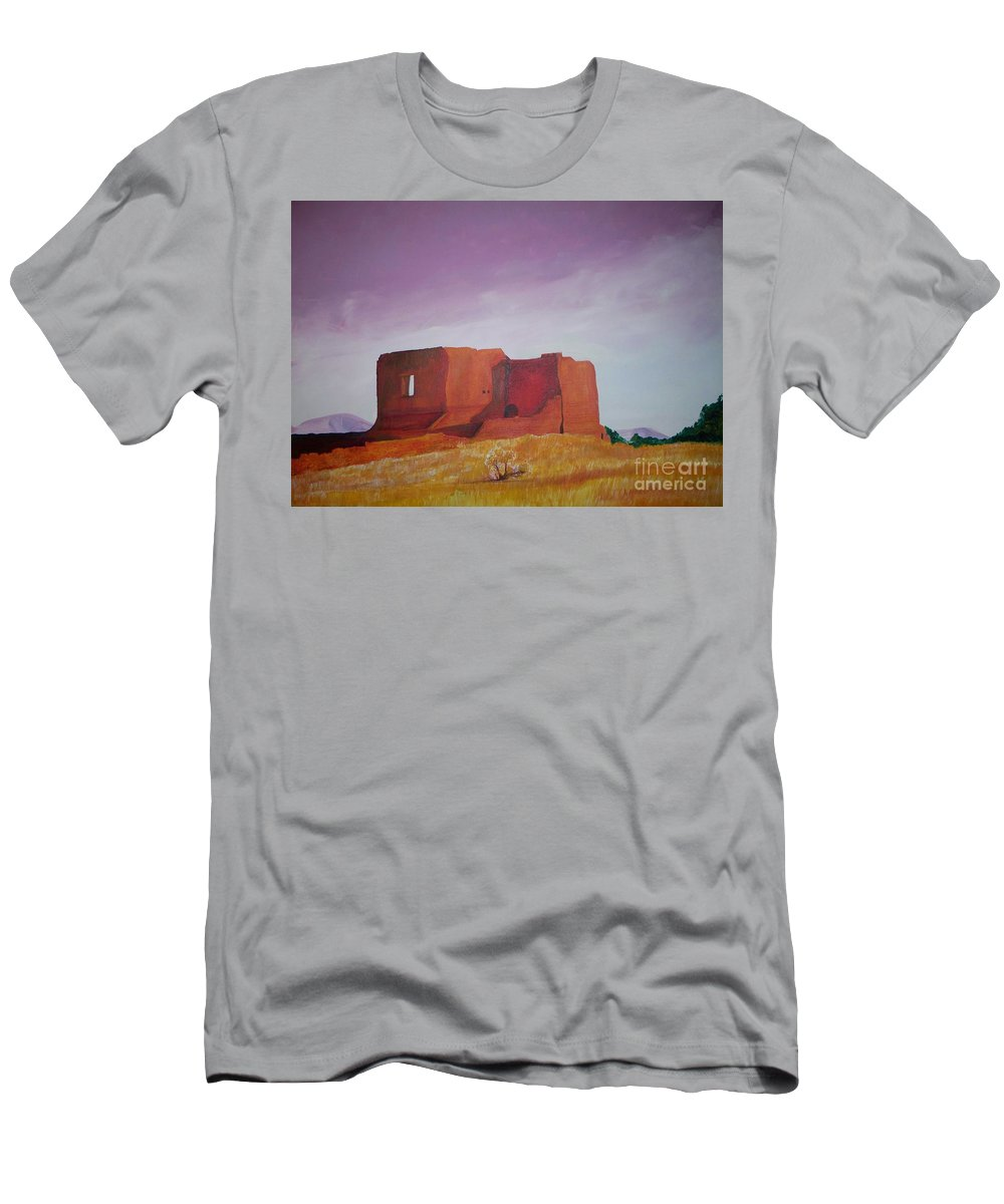 Western Men's T-Shirt (Athletic Fit) featuring the painting Pecos Mission Landscape by Eric Schiabor