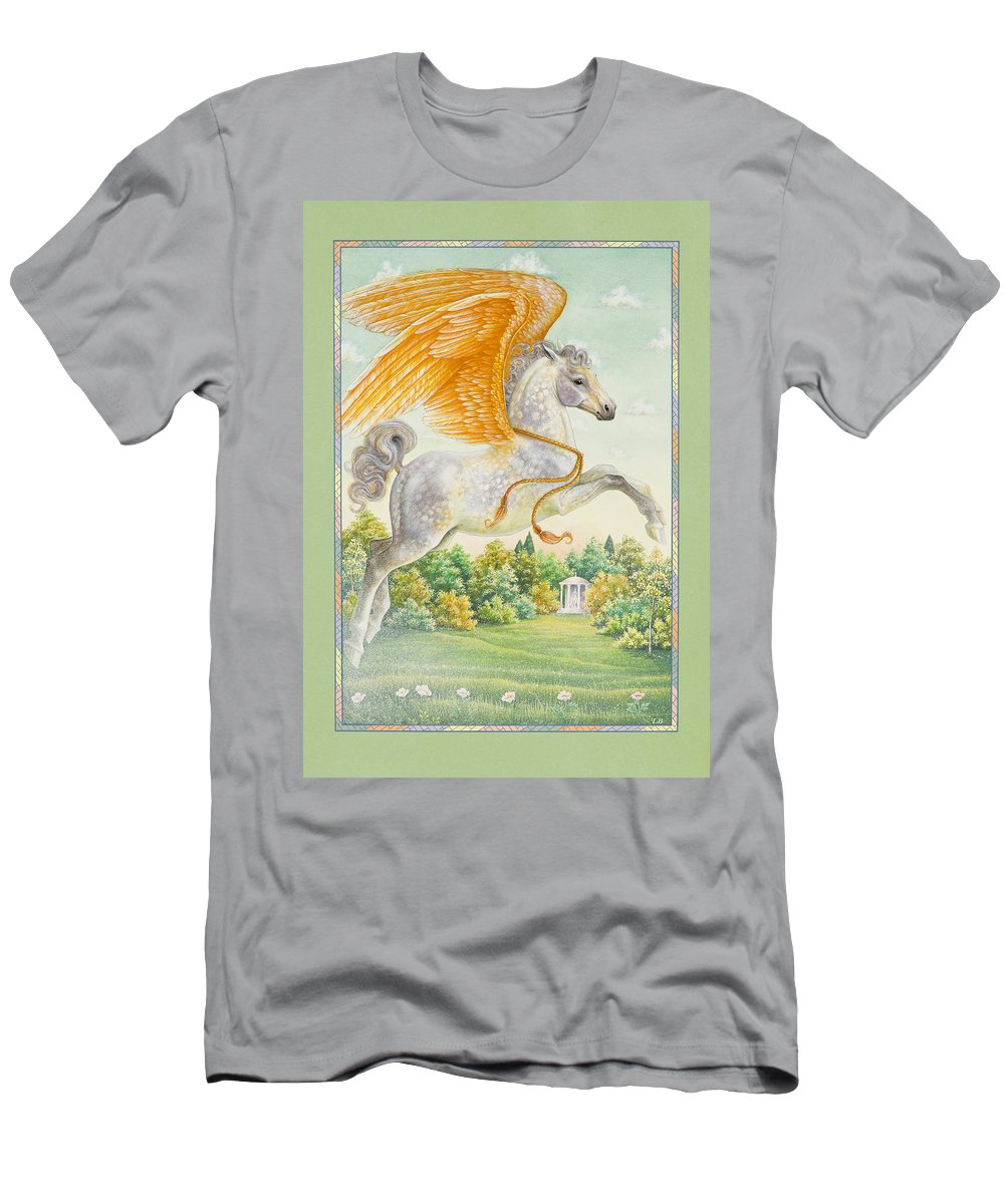 Pegasus Men's T-Shirt (Athletic Fit) featuring the painting Pegasus by Lynn Bywaters