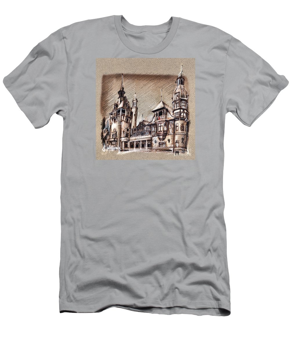 Castels Men's T-Shirt (Athletic Fit) featuring the drawing Peles Castle Romania Drawing by Daliana Pacuraru