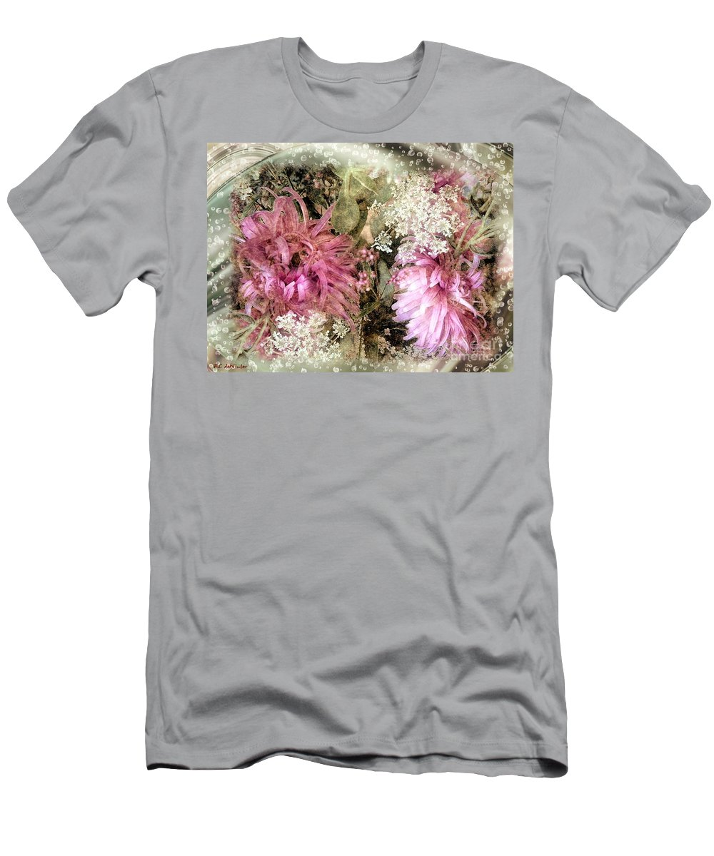 Flowers Men's T-Shirt (Athletic Fit) featuring the painting Penny Postcard Pearlescent by RC DeWinter