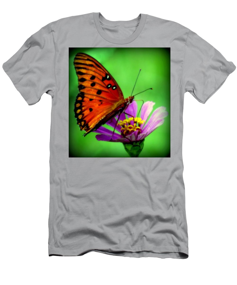 Butterflies Men's T-Shirt (Athletic Fit) featuring the photograph Petal Dance by Karen Wiles